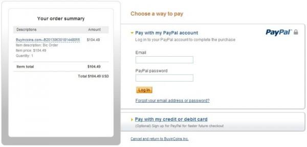 Buyincoins - оплата PayPal