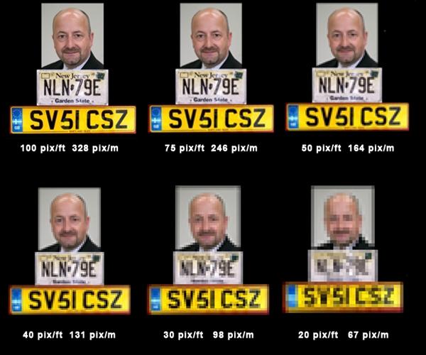 Пример изображения при различном соотношении пиксель/метр
