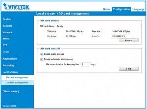 Vivotek IP8362 - веб-интерфейс