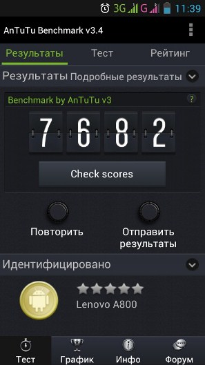 Lenovo A800 Antutu