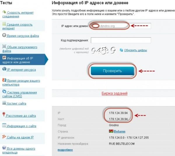 Проверка на DynDNS.org IP адреса