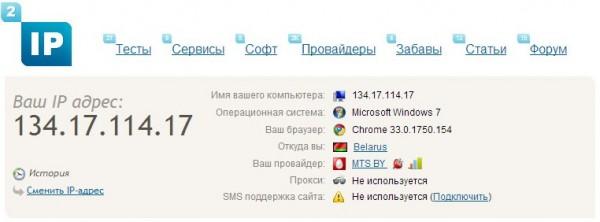 Проверка IP адреса сервисом 2IP