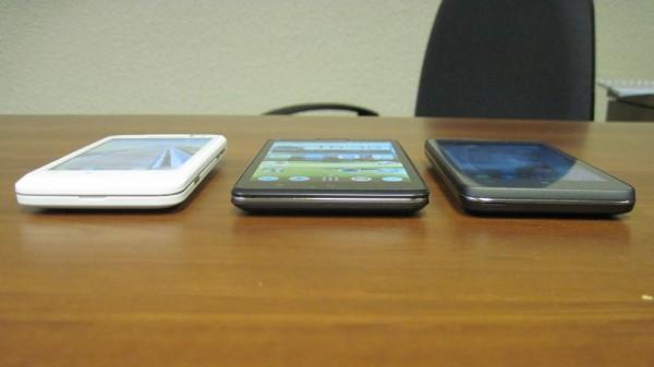 Вид сбоку на смартфоны Lenovo P серии