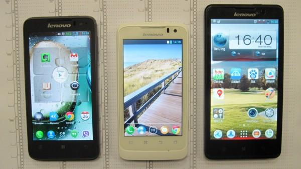 Вид спереди на смартфоны Lenovo P серии