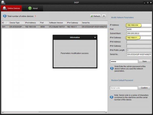 Замена IP адреса DS-2CD2432F-IW в SADP