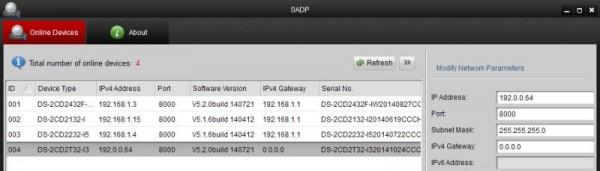 IP камеры в SADP