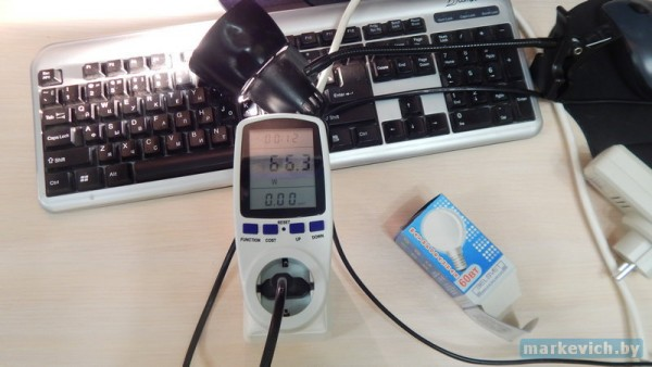 Ваттметр PMB-2-EU - потр. мощность лампочки