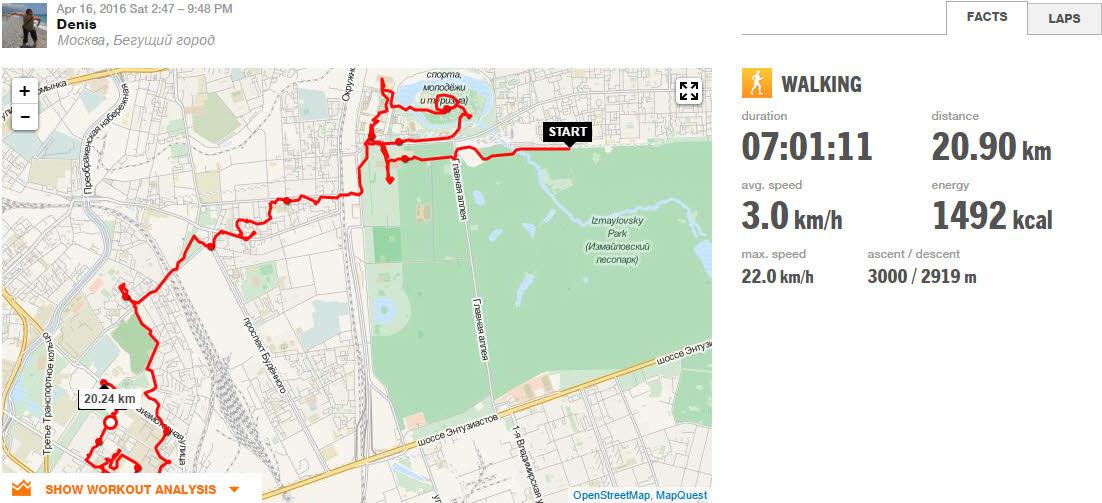 Бегущий город - пройдено 20 км