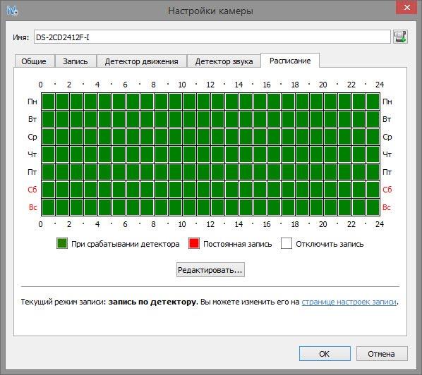 Вкладка - расписание в Server