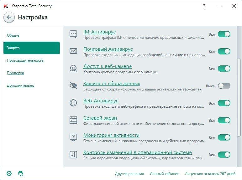 Kaspersky Total Security - защита от сбора данных