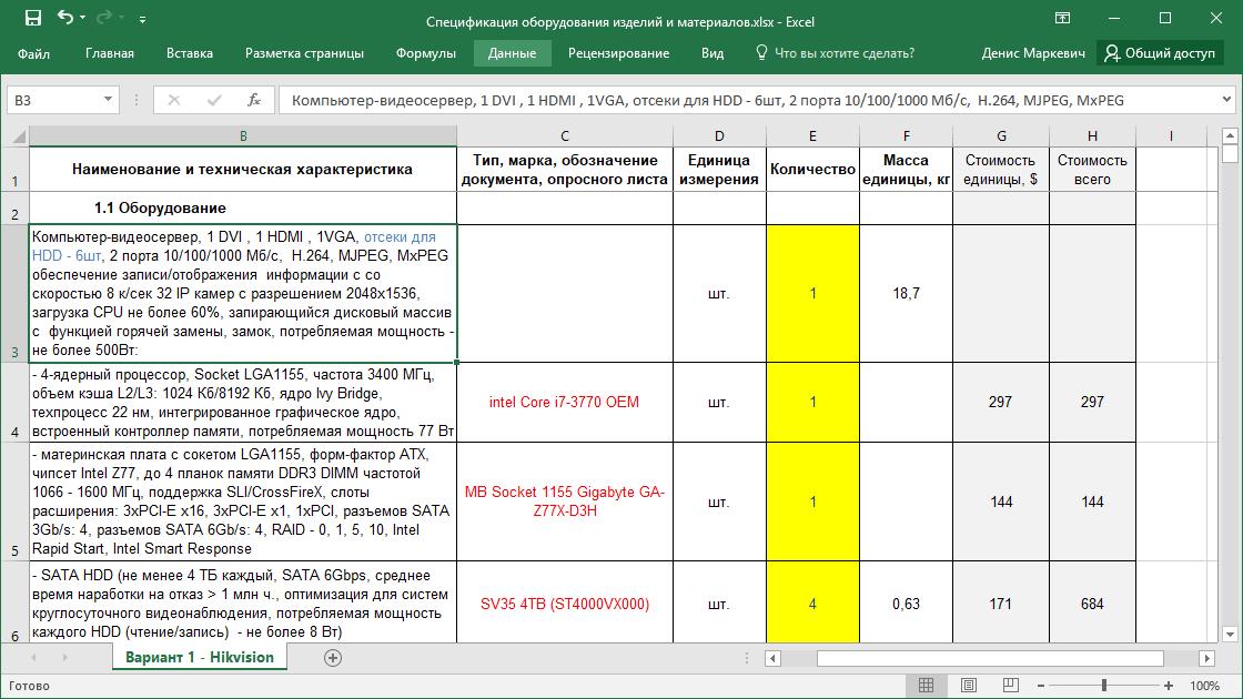 Спецификация оборудования изделий и материалов