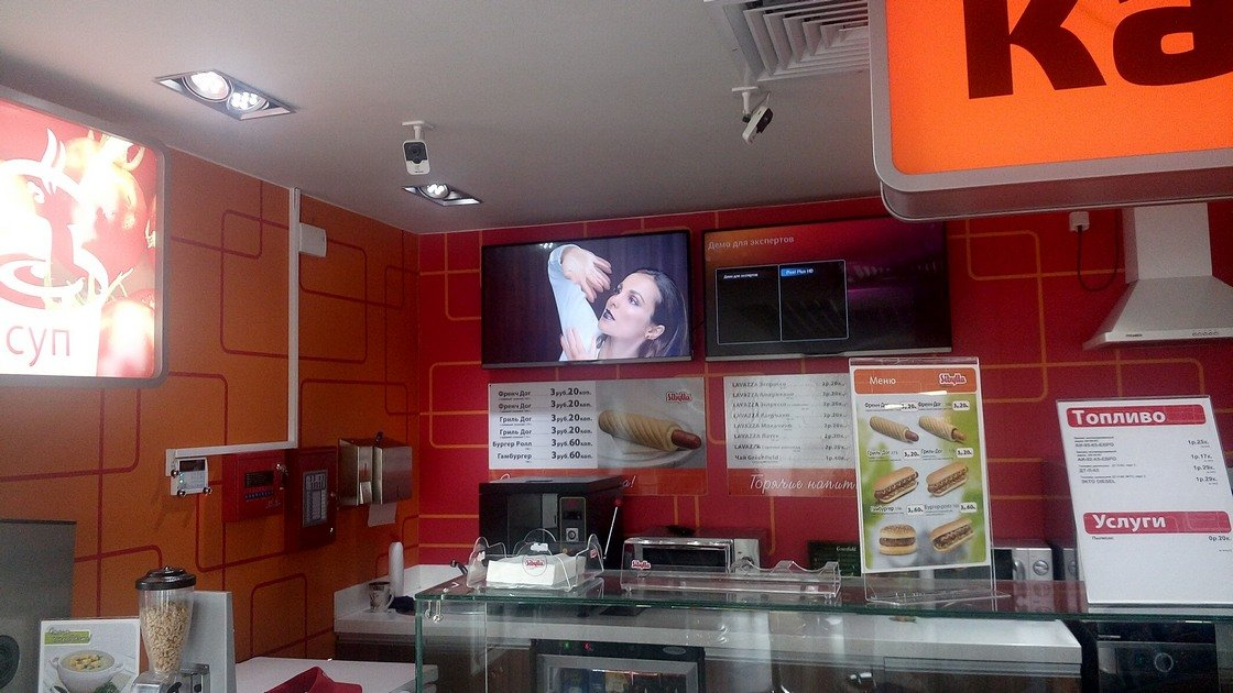 Торговый зал на АЗС с видеонаблюдением - Hikvision
