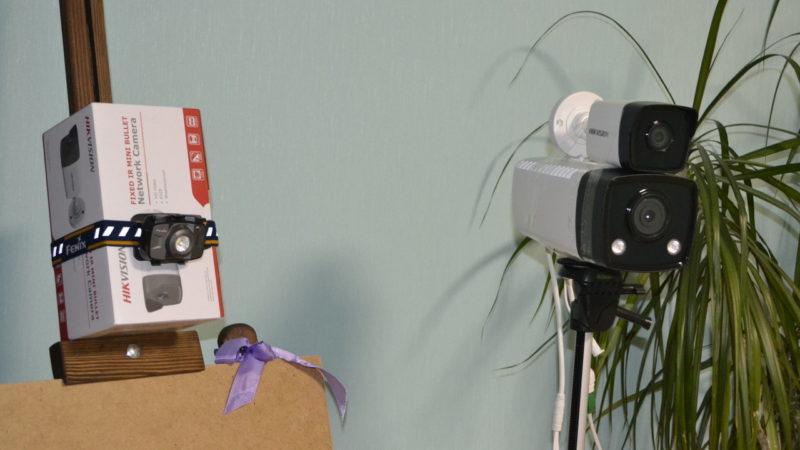 Стенд для теста качества записи IP камер - скотч, кронштейн, фонарь