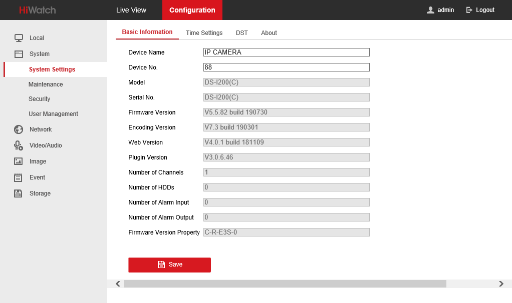 Configuration - System Settings