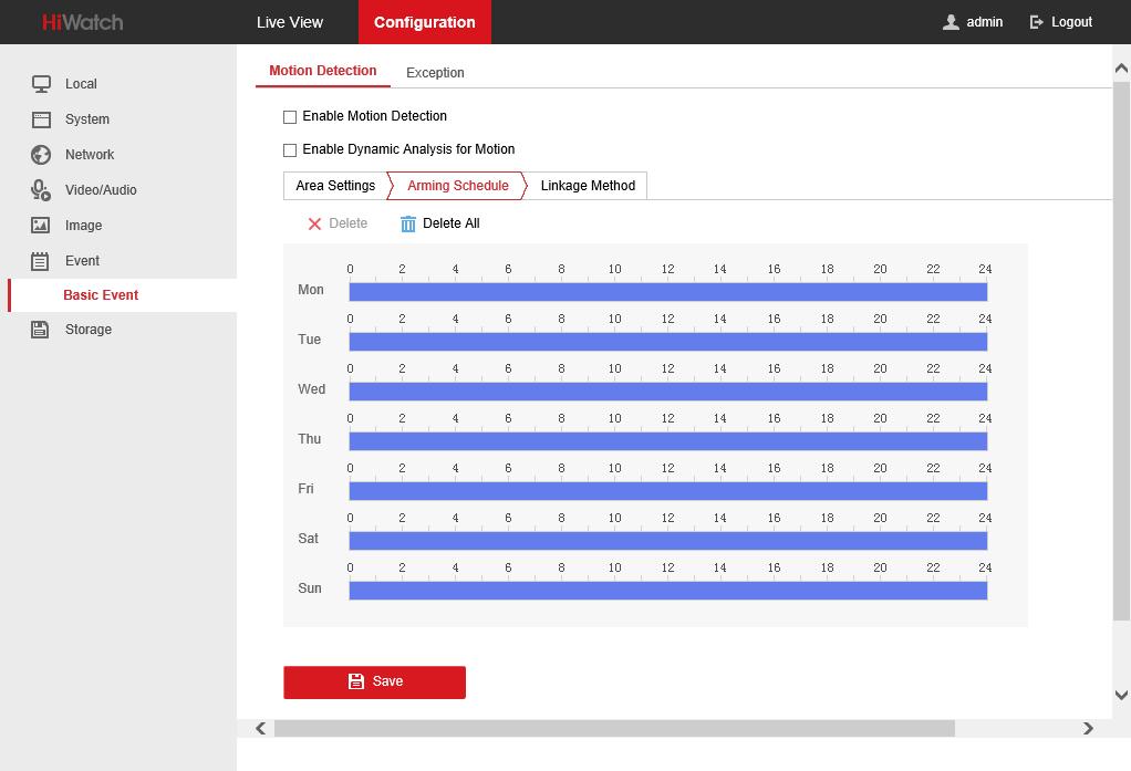 Arming Schedule