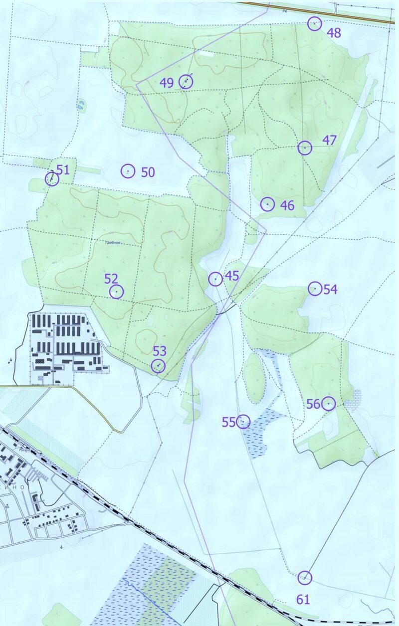 """Карта КП для этапа """"Литовский лес"""""""