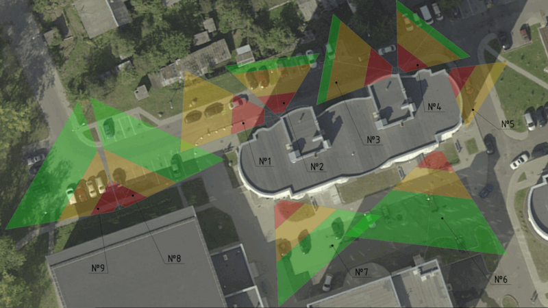 Зоны обзора камер видеонаблюдения на территории жилого дома обслуживаемого ТС