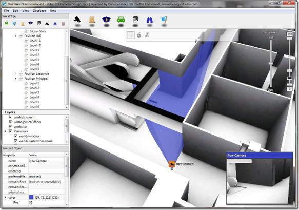 Рабочая область Pelco 3D Camera Tool