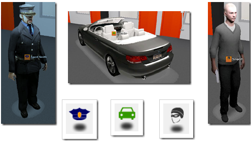 Примеры объектов, которые можно добавлять на план Pelco 3D Camera Tool